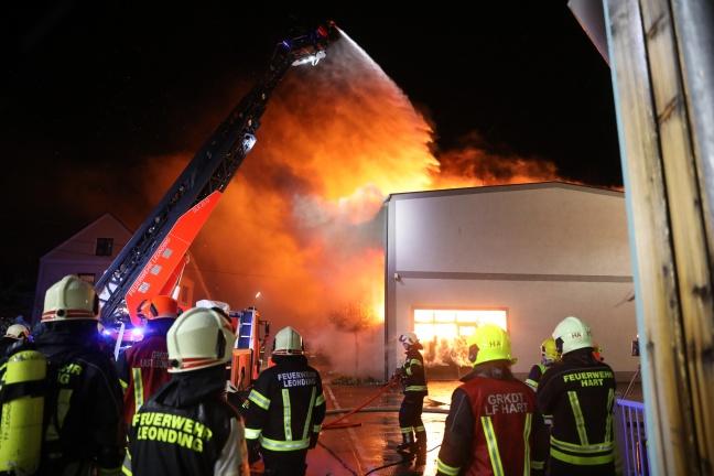 Großbrand eines Gewerbebetriebes in Traun   Foto: laumat.at/Matthias Lauber