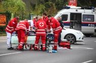 Verkehrsunfall mit Motorrad auf der Salzburger Stra�e in Wels-Lichtenegg | Fotograf: Matthias Lauber