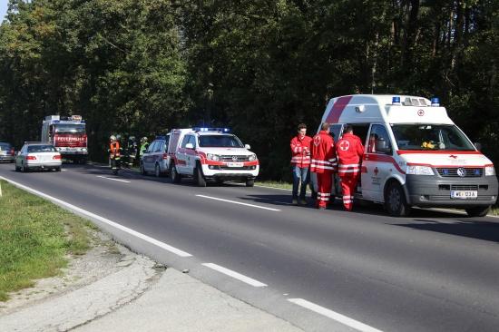 PKW-Lenkerin bei Verkehrsunfall auf der Wiener Stra�e verletzt   Fotograf: Matthias Lauber