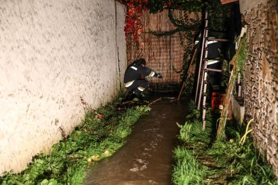 Feuerwehr bei hochwasserf�hrendem Gr�nbach in Wels-Neustadt im Einsatz | Fotograf: Matthias Lauber