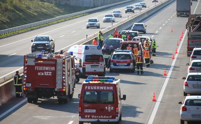 Unfallserie im Abendverkehr auf der Westautobahn bei Vorchdorf