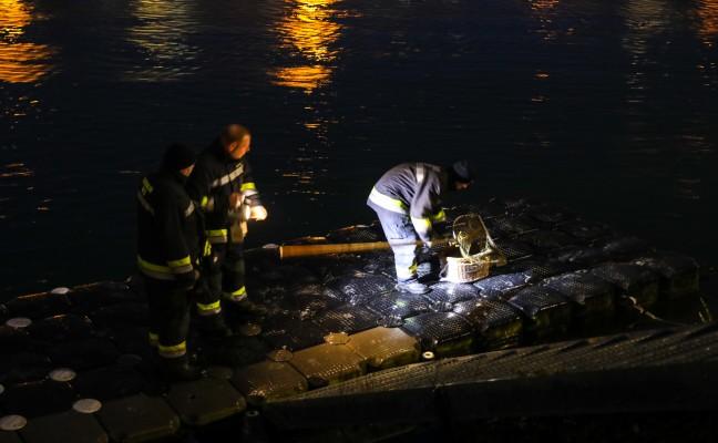 Verletzte Ente von der Feuerwehr aus der Traun gerettet