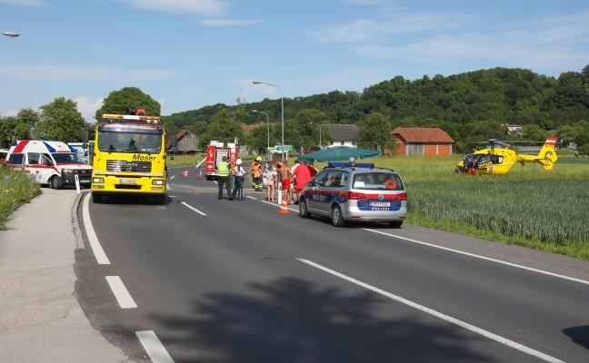 Notarzthubschrauber nach Verkehrsunfall in Ansfelden im Einsatz