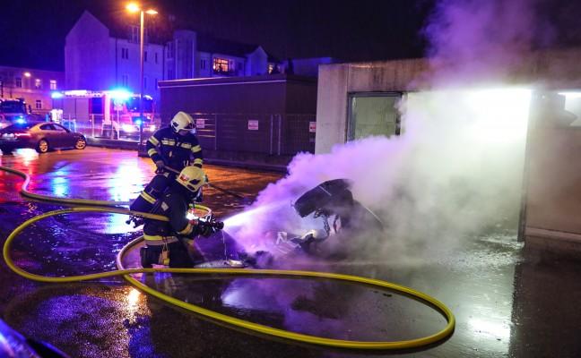 Brand im Müllraum der Bahnhof City Wels in Wels-Innenstadt schnell gelöscht