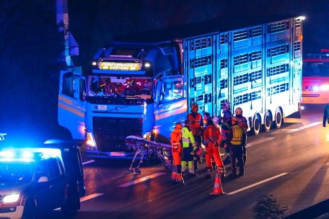 LKW-Lenker nach internem Notfall auf Innkreisautobahn bei Wels aus Führerhaus gerettet