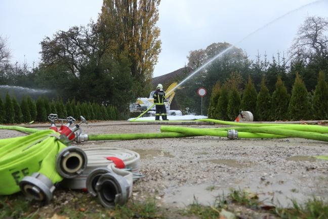 Spannende Großübung der Feuerwehr in einem Wohn- und Campingpark in Pettenbach