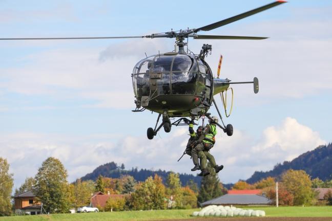 Flughelfer der Feuerwehr trainierten in Scharnstein für den Ernstfall