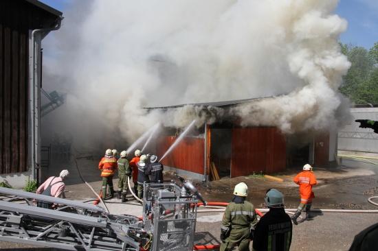 Großbrand in einem Sägewerk in Gallspach