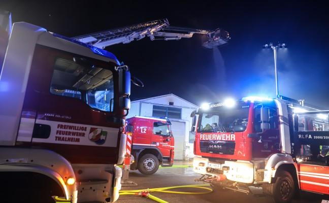 Große Einsatzübung der Feuerwehr als Abschluss des Übungstages in Thalheim bei Wels
