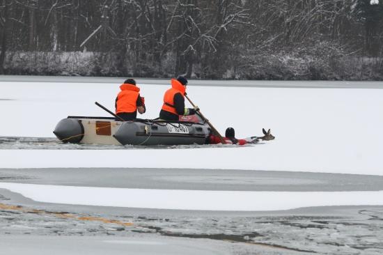 Feuerwehr versuchte im Eis eingebrochene Rehe zu retten