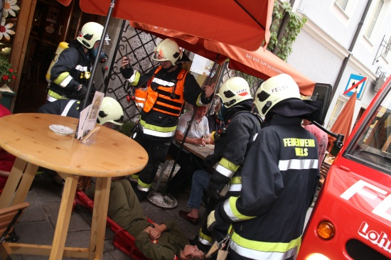 Feuerwehr Wels übte Ernstfall in der Altstadt