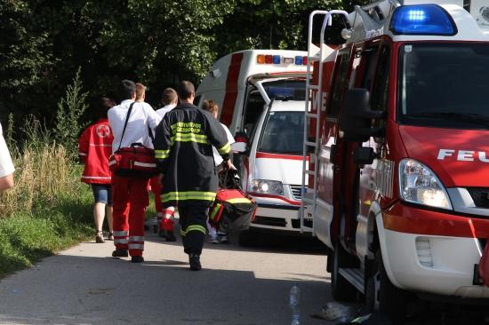 Keller eines Mehrfamilienhauses in Thalheim bei Wels in Brand