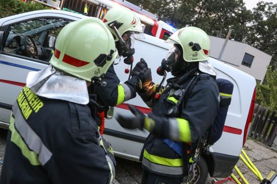Wohnhausbrand bei Übungstag in Thalheim bei Wels beübt