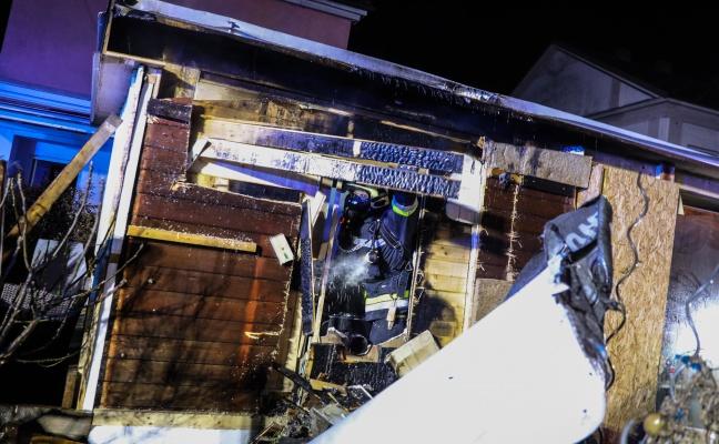 Brand einer Saunahütte in Wels-Lichtenegg